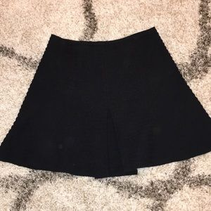 Theory Braswell Black Ribbed A-Line Mini Skirt NWT